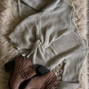 RomWe Knitted Grey Twisted Sweater